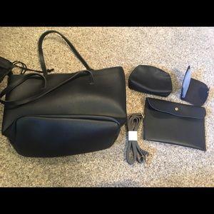 Handbags - Black brand NEW tote purse set w/duster bag